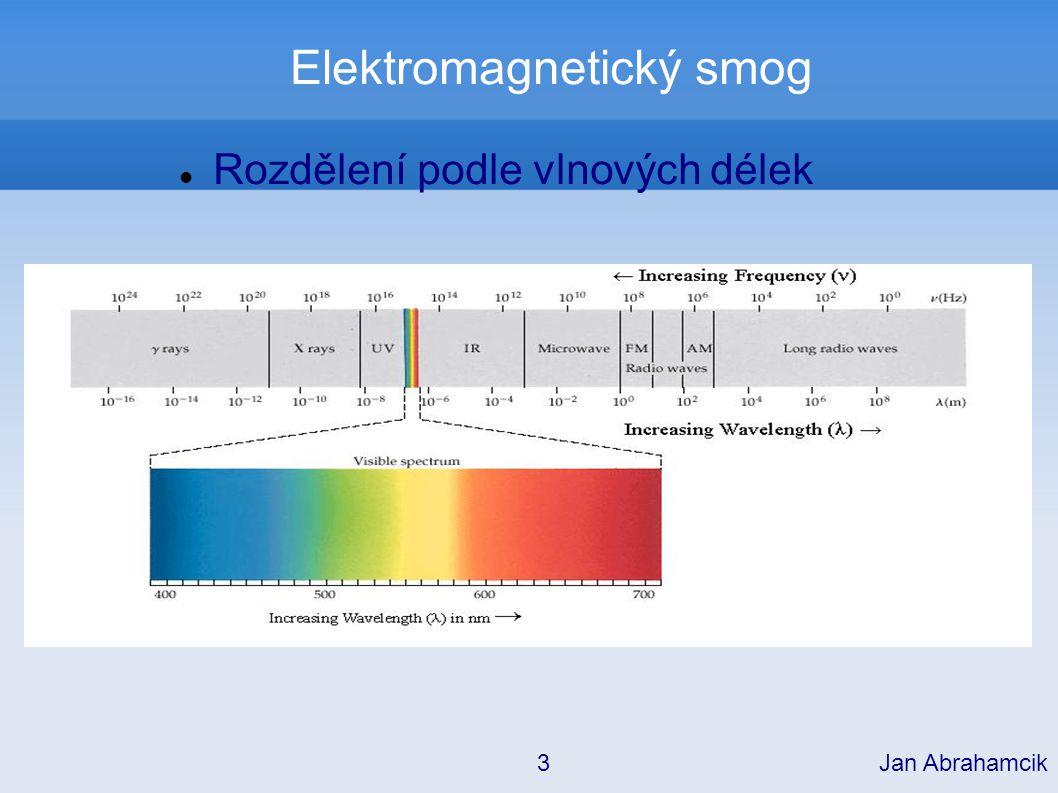 Elektromagnetický smog Hlavním zdrojem je záření z kosmu, které je z části pohlcováno atmosférou Ve větších nadmořských výškách je intenzita různých druhů záření vyšší Jan Abrahamcik 4 Vyšší frekvence jsou nejlépe pohlcovány.