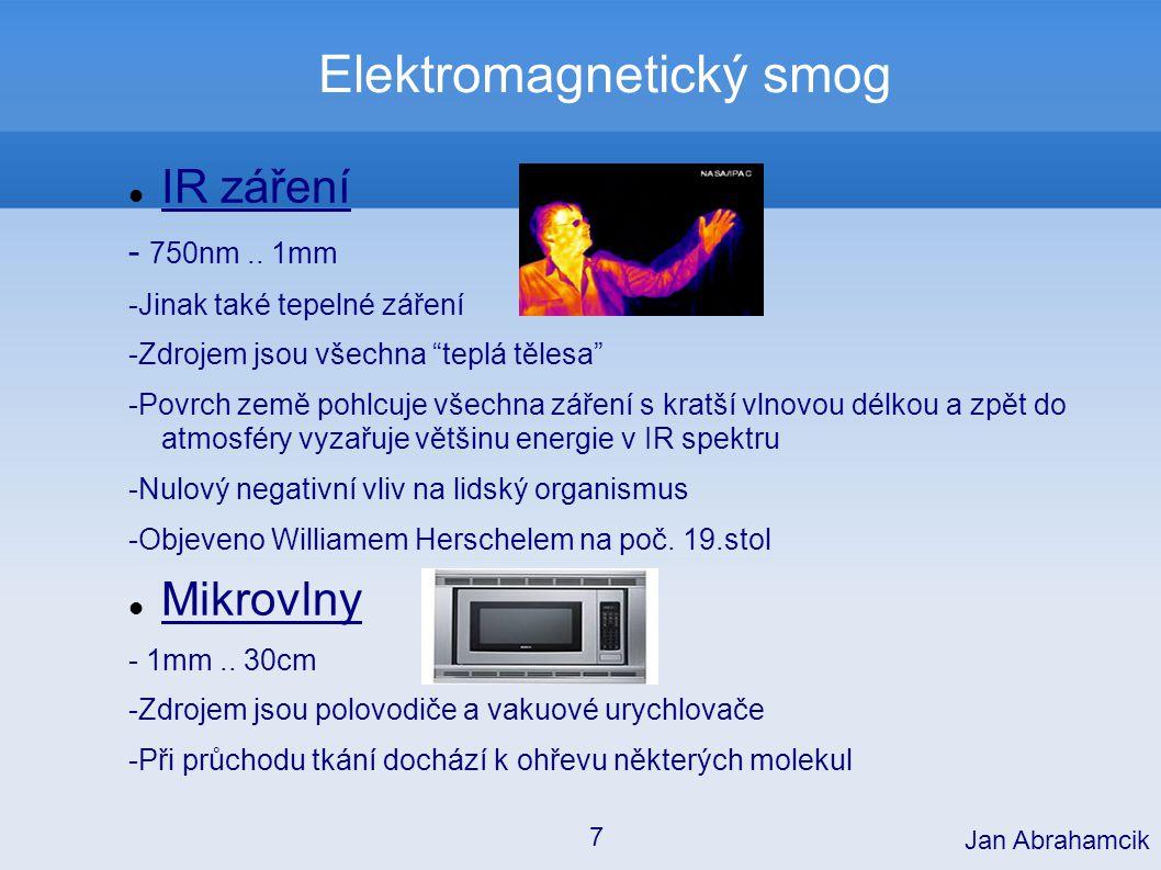 Elektromagnetický smog Možné ohrožení mikrovlnami: mikrovlnná trouba - dokonalé stínění rychlá polovodičová zařízení- malá energie mobilní telefon Jan Abrahamcik 18