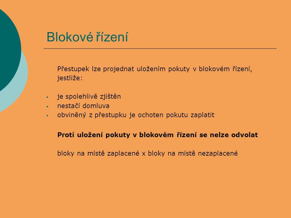 Blokové řízení Přestupek lze projednat uložením pokuty v blokovém řízení, jestliže:  je spolehlivě zjištěn  nestačí domluva  obviněný z přestupku j