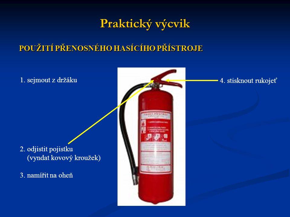 Praktický výcvik 2. odjistit pojistku (vyndat kovový kroužek) 3. namířit na oheň 4. stisknout rukojeť POUŽITÍ PŘENOSNÉHO HASÍCÍHO PŘÍSTROJE 1. sejmout