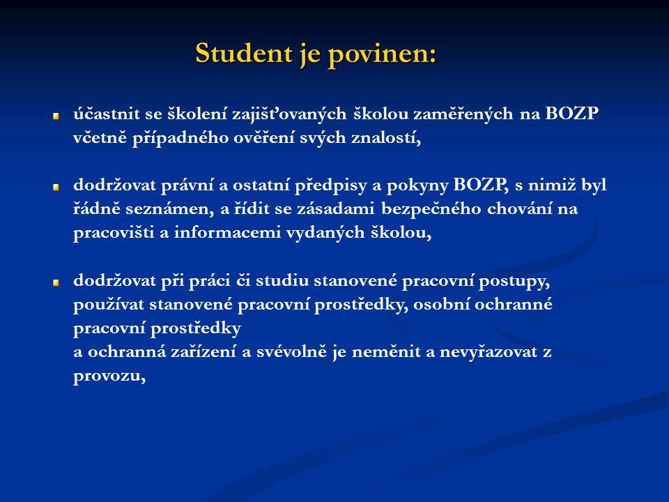 Student je povinen: účastnit se školení zajišťovaných školou zaměřených na BOZP včetně případného ověření svých znalostí, dodržovat právní a ostatní p