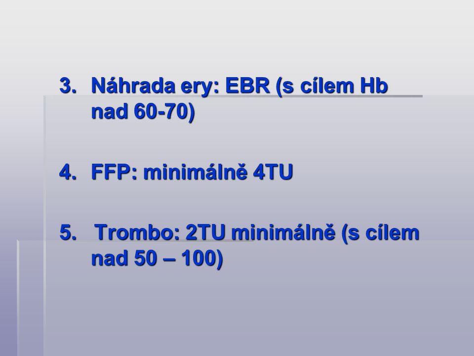 3.Náhrada ery: EBR (s cílem Hb nad 60-70) 4.FFP: minimálně 4TU 5. Trombo: 2TU minimálně (s cílem nad 50 – 100)