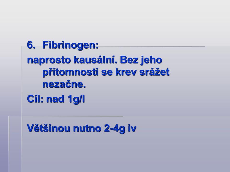 6.Fibrinogen: naprosto kausální. Bez jeho přítomnosti se krev srážet nezačne. Cíl: nad 1g/l Většinou nutno 2-4g iv