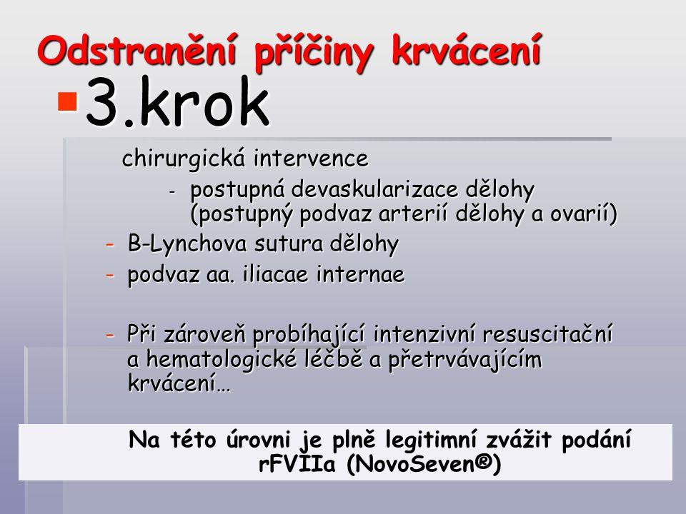 Odstranění příčiny krvácení  3.krok chirurgická intervence - postupná devaskularizace dělohy (postupný podvaz arterií dělohy a ovarií) - postupná dev
