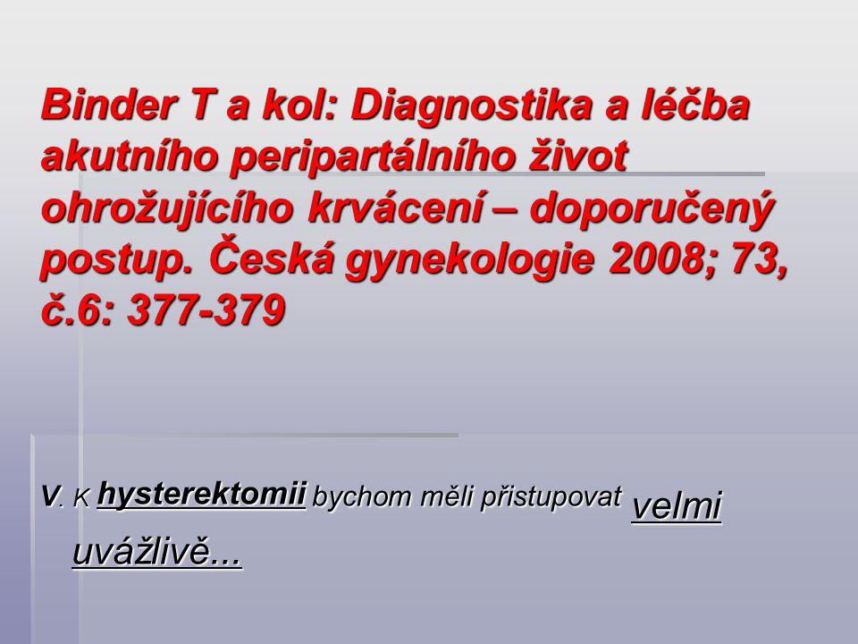 Binder T a kol: Diagnostika a léčba akutního peripartálního život ohrožujícího krvácení – doporučený postup. Česká gynekologie 2008; 73, č.6: 377-379