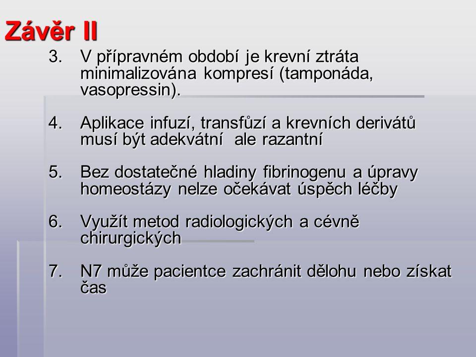 3.V přípravném období je krevní ztráta minimalizována kompresí (tamponáda, vasopressin). 4.Aplikace infuzí, transfůzí a krevních derivátů musí být ade