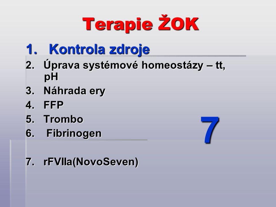 Terapie ŽOK 1. Kontrola zdroje 2. Úprava systémové homeostázy – tt, pH 3. Náhrada ery 4. FFP 5. Trombo 6. Fibrinogen 7. rFVIIa(NovoSeven) 7