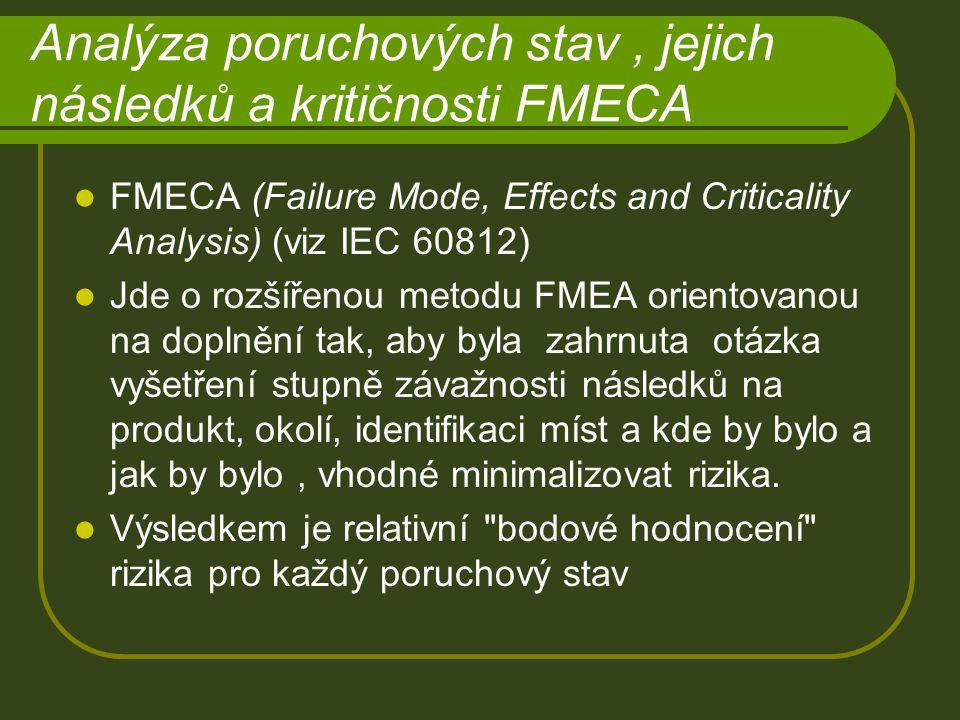 Analýza poruchových stav, jejich následků a kritičnosti FMECA FMECA (Failure Mode, Effects and Criticality Analysis) (viz IEC 60812) Jde o rozšířenou