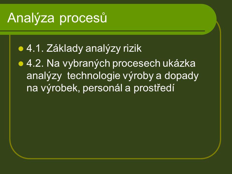 Analýza procesů 4.1. Základy analýzy rizik 4.2. Na vybraných procesech ukázka analýzy technologie výroby a dopady na výrobek, personál a prostředí