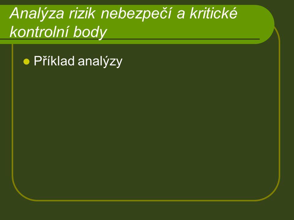 Analýza rizik nebezpečí a kritické kontrolní body Příklad analýzy