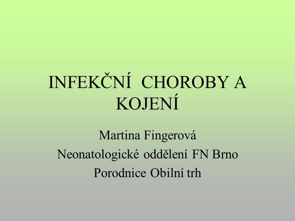 INFEKČNÍ CHOROBY A KOJENÍ Martina Fingerová Neonatologické oddělení FN Brno Porodnice Obilní trh