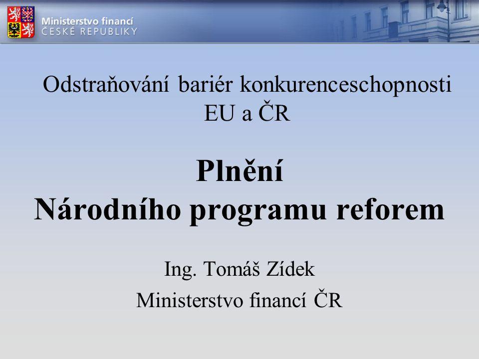 Plnění Národního programu reforem Ing.