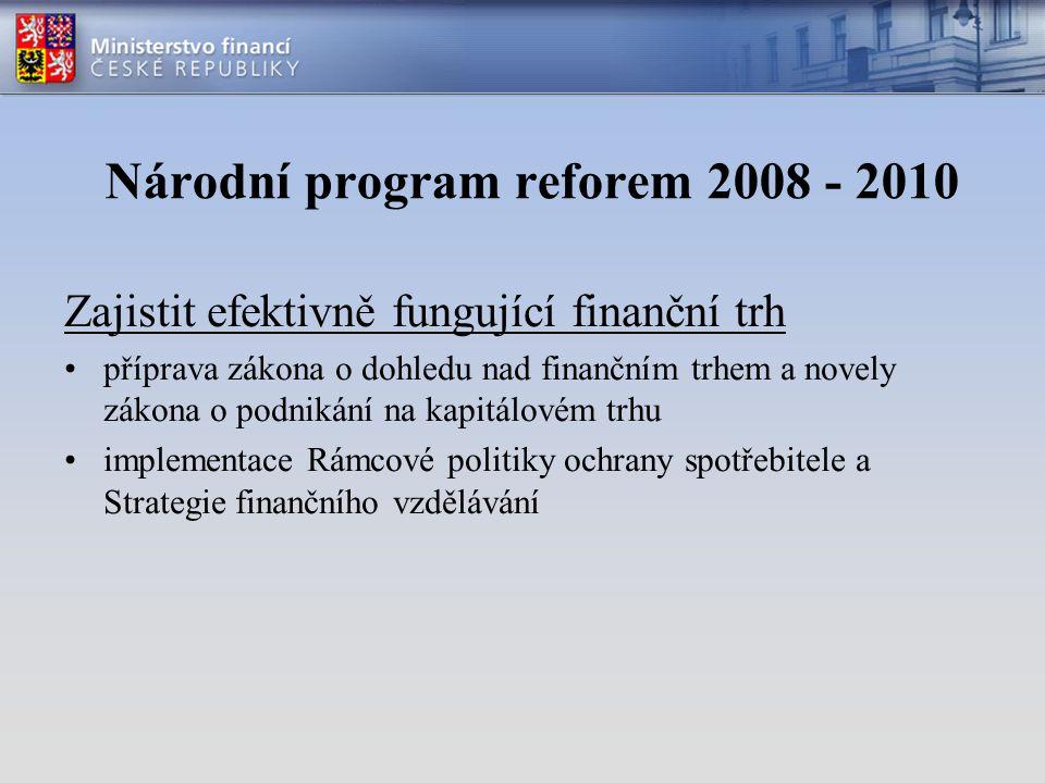 Zajistit efektivně fungující finanční trh příprava zákona o dohledu nad finančním trhem a novely zákona o podnikání na kapitálovém trhu implementace Rámcové politiky ochrany spotřebitele a Strategie finančního vzdělávání