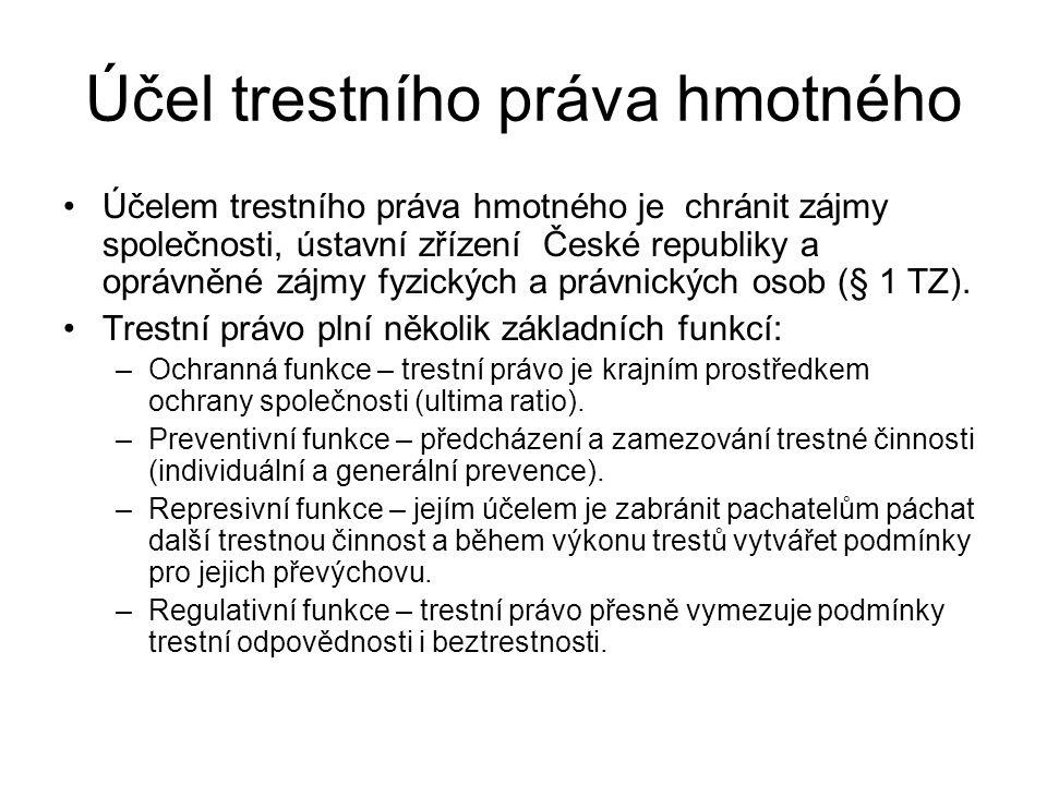 Účel trestního práva hmotného Účelem trestního práva hmotného je chránit zájmy společnosti, ústavní zřízení České republiky a oprávněné zájmy fyzickýc
