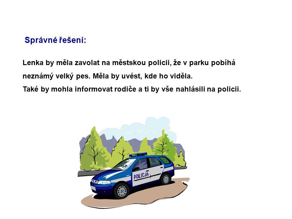 Správné řešení: Lenka by měla zavolat na městskou policii, že v parku pobíhá neznámý velký pes. Měla by uvést, kde ho viděla. Také by mohla informovat