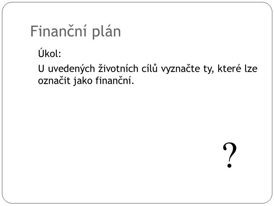 Finanční plán Úkol: U uvedených životních cílů vyznačte ty, které lze označit jako finanční. ?