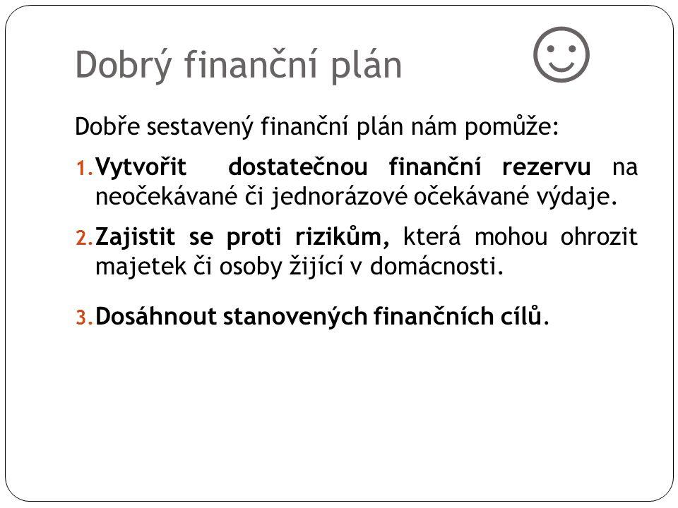 Dobrý finanční plán ☺ Dobře sestavený finanční plán nám pomůže: 1. Vytvořit dostatečnou finanční rezervu na neočekávané či jednorázové očekávané výdaj