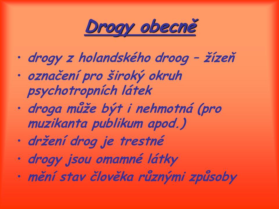 Drogy obecně drogy z holandského droog – žízeň označení pro široký okruh psychotropních látek droga může být i nehmotná (pro muzikanta publikum apod.)