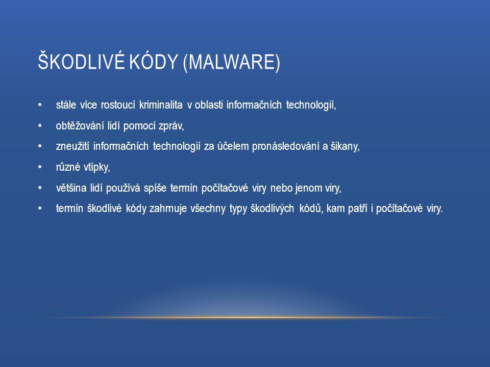 ŠKODLIVÉ KÓDY (MALWARE) stále více rostoucí kriminalita v oblasti informačních technologií, obtěžování lidí pomocí zpráv, zneužití informačních technologií za účelem pronásledování a šikany, různé vtípky, většina lidí používá spíše termín počítačové viry nebo jenom viry, termín škodlivé kódy zahrnuje všechny typy škodlivých kódů, kam patří i počítačové viry.