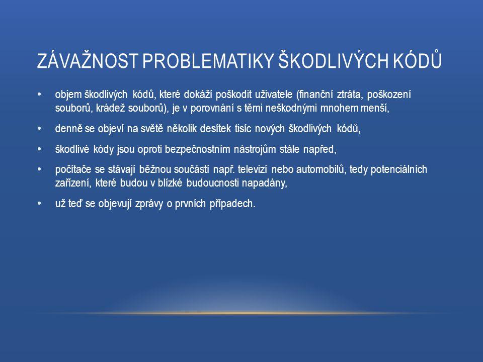 ZÁVAŽNOST PROBLEMATIKY ŠKODLIVÝCH KÓDŮ objem škodlivých kódů, které dokáží poškodit uživatele (finanční ztráta, poškození souborů, krádež souborů), je