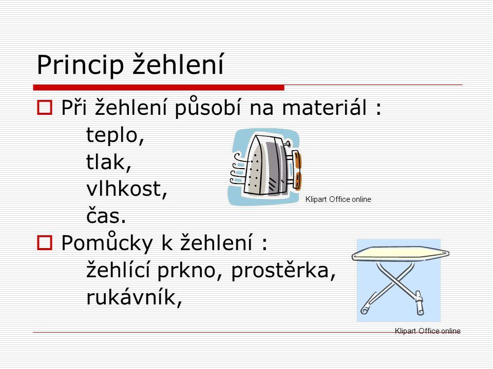 Princip žehlení  Při žehlení působí na materiál : teplo, tlak, vlhkost, čas.  Pomůcky k žehlení : žehlící prkno, prostěrka, rukávník, Klipart Office