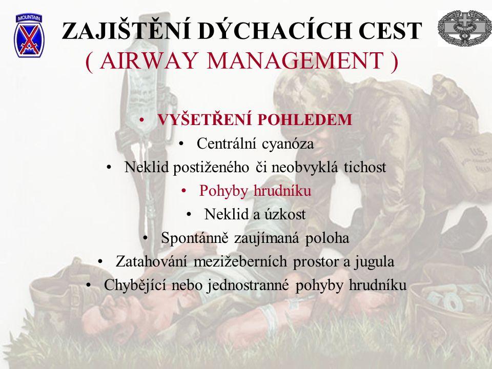 ZAJIŠTĚNÍ DÝCHACÍCH CEST ( AIRWAY MANAGEMENT ) VYŠETŘENÍ POHLEDEM Centrální cyanóza Neklid postiženého či neobvyklá tichost Pohyby hrudníku Neklid a ú