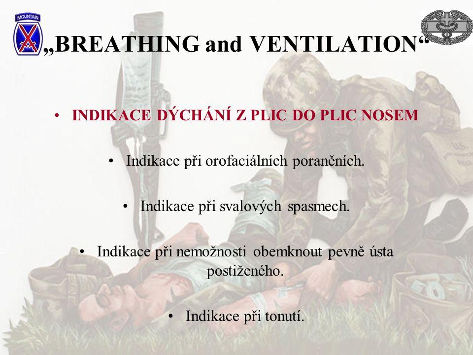 """""""BREATHING and VENTILATION"""" INDIKACE DÝCHÁNÍ Z PLIC DO PLIC NOSEM Indikace při orofaciálních poraněních. Indikace při svalových spasmech. Indikace při"""