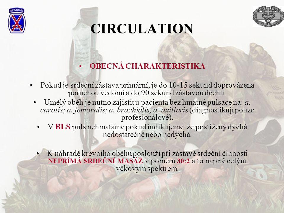 CIRCULATION OBECNÁ CHARAKTERISTIKA Pokud je srdeční zástava primární, je do 10-15 sekund doprovázena poruchou vědomí a do 90 sekund zástavou dechu. Um