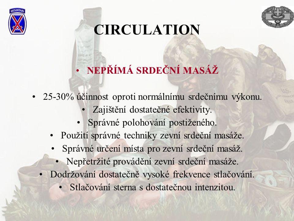 CIRCULATION NEPŘÍMÁ SRDEČNÍ MASÁŽ 25-30% účinnost oproti normálnímu srdečnímu výkonu. Zajištění dostatečné efektivity. Správné polohování postiženého.