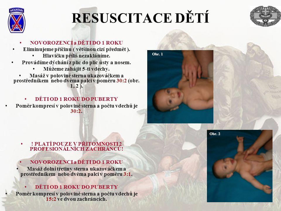 RESUSCITACE DĚTÍ NOVOROZENCI a DĚTI DO 1 ROKU Eliminujeme příčinu ( většinou cizí předmět ). Hlavičku příliš nezakláníme. Provádíme dýchání z plic do