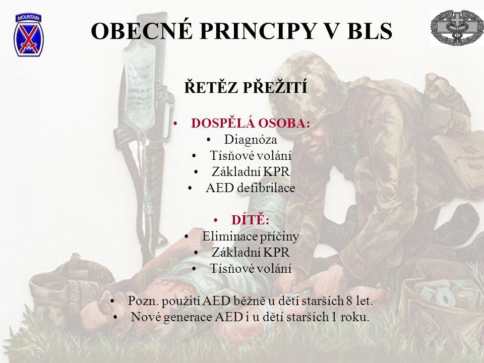 OBECNÉ PRINCIPY V BLS DOSPĚLÁ OSOBA: Diagnóza Tísňové volání Základní KPR AED defibrilace DÍTĚ: Eliminace příčiny Základní KPR Tísňové volání Pozn. po