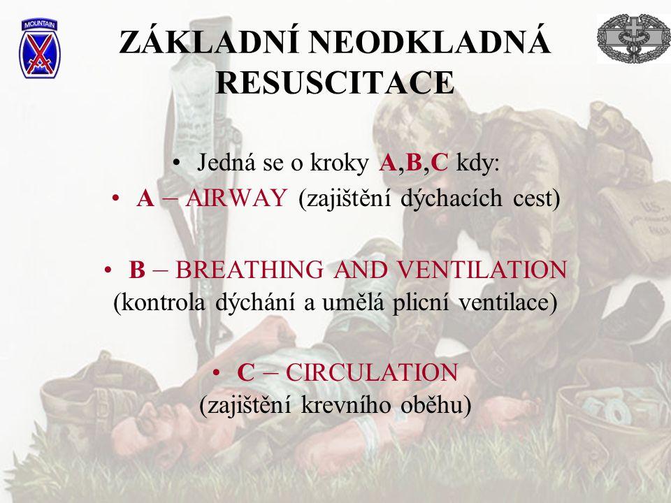ZÁKLADNÍ NEODKLADNÁ RESUSCITACE Jedná se o kroky A, B, C kdy: A – AIRWAY (zajištění dýchacích cest) B – BREATHING AND VENTILATION (kontrola dýchání a