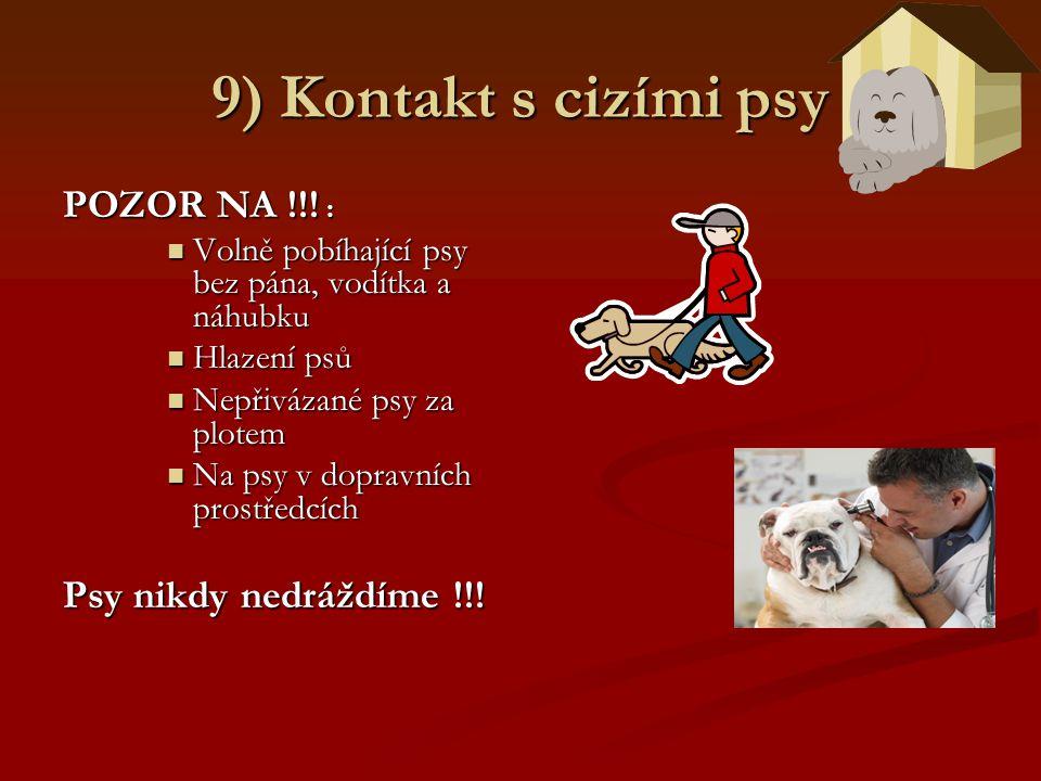 9) Kontakt s cizími psy POZOR NA !!! : Volně pobíhající psy bez pána, vodítka a náhubku Volně pobíhající psy bez pána, vodítka a náhubku Hlazení psů H