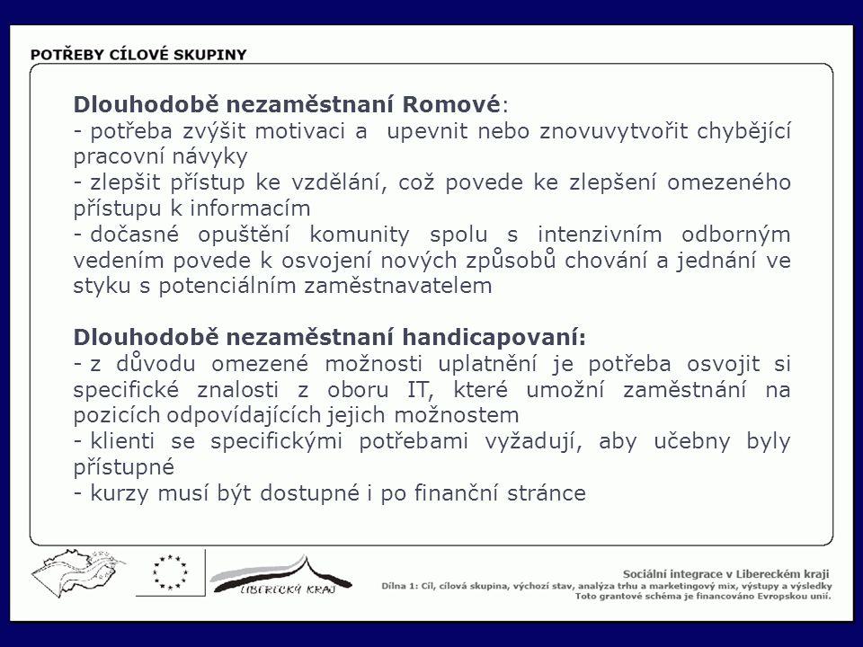 18 Dlouhodobě nezaměstnaní Romové: - potřeba zvýšit motivaci a upevnit nebo znovuvytvořit chybějící pracovní návyky - zlepšit přístup ke vzdělání, což povede ke zlepšení omezeného přístupu k informacím - dočasné opuštění komunity spolu s intenzivním odborným vedením povede k osvojení nových způsobů chování a jednání ve styku s potenciálním zaměstnavatelem Dlouhodobě nezaměstnaní handicapovaní: - z důvodu omezené možnosti uplatnění je potřeba osvojit si specifické znalosti z oboru IT, které umožní zaměstnání na pozicích odpovídajících jejich možnostem - klienti se specifickými potřebami vyžadují, aby učebny byly přístupné - kurzy musí být dostupné i po finanční stránce