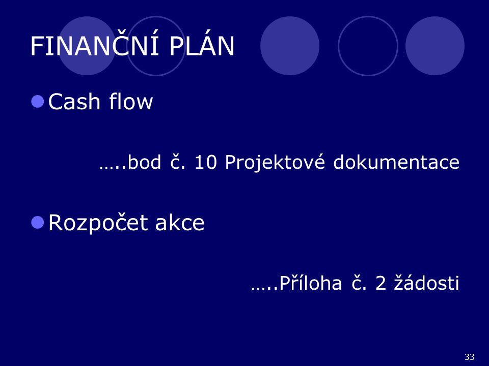 33 FINANČNÍ PLÁN Cash flow …..bod č. 10 Projektové dokumentace Rozpočet akce …..Příloha č. 2 žádosti