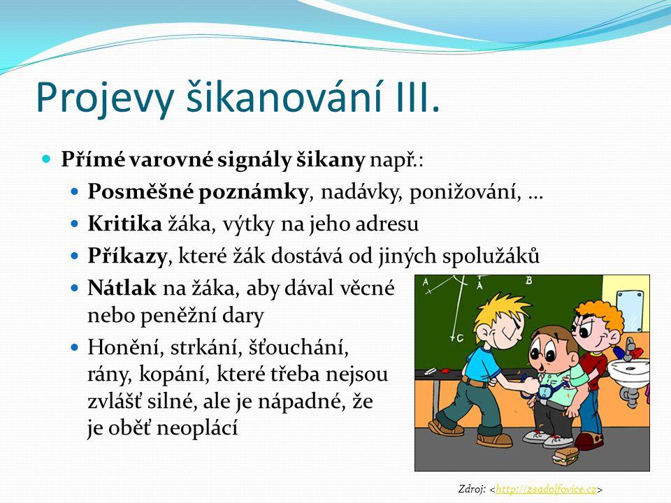 3.Projevy šikanování IV.