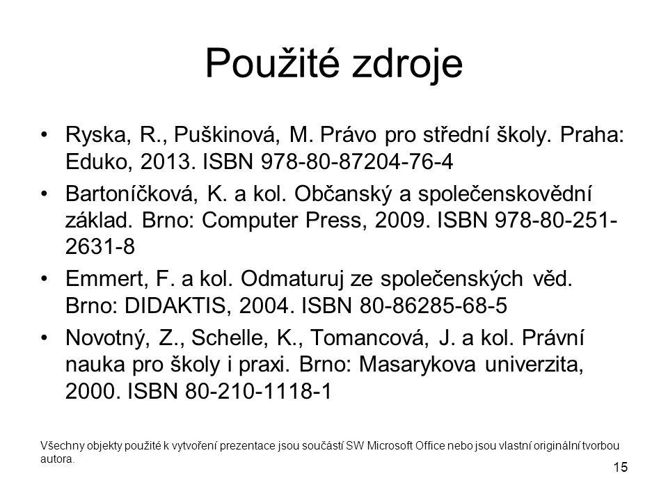 15 Použité zdroje Ryska, R., Puškinová, M. Právo pro střední školy. Praha: Eduko, 2013. ISBN 978-80-87204-76-4 Bartoníčková, K. a kol. Občanský a spol