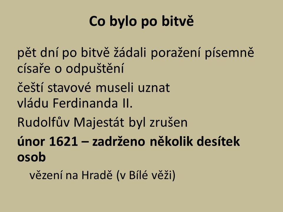 Co bylo po bitvě pět dní po bitvě žádali poražení písemně císaře o odpuštění čeští stavové museli uznat vládu Ferdinanda II. Rudolfův Majestát byl zru