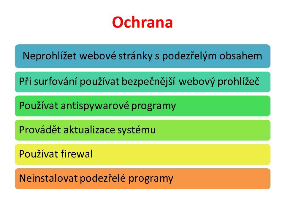Ochrana Neprohlížet webové stránky s podezřelým obsahem Při surfování používat bezpečnější webový prohlížečPoužívat antispywarové programyProvádět aktualizace systémuPoužívat firewalNeinstalovat podezřelé programy