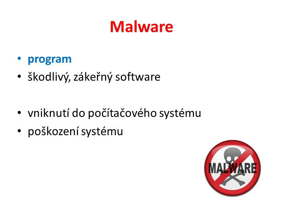 Malware program škodlivý, zákeřný software vniknutí do počítačového systému poškození systému