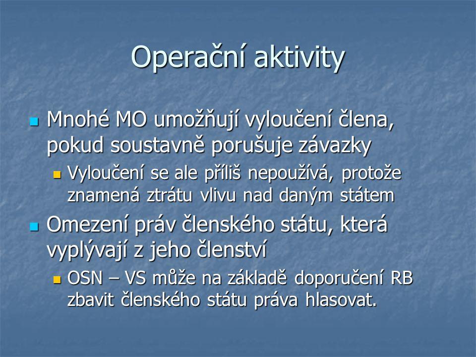 Operační aktivity Mnohé MO umožňují vyloučení člena, pokud soustavně porušuje závazky Mnohé MO umožňují vyloučení člena, pokud soustavně porušuje záva