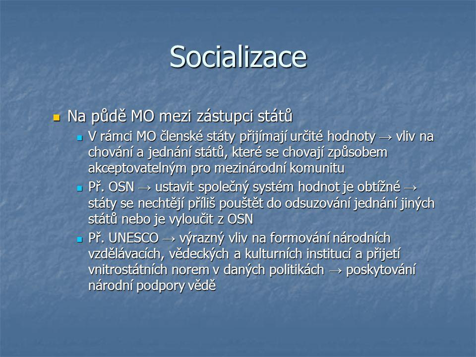 Socializace Na půdě MO mezi zástupci států Na půdě MO mezi zástupci států V rámci MO členské státy přijímají určité hodnoty → vliv na chování a jednán