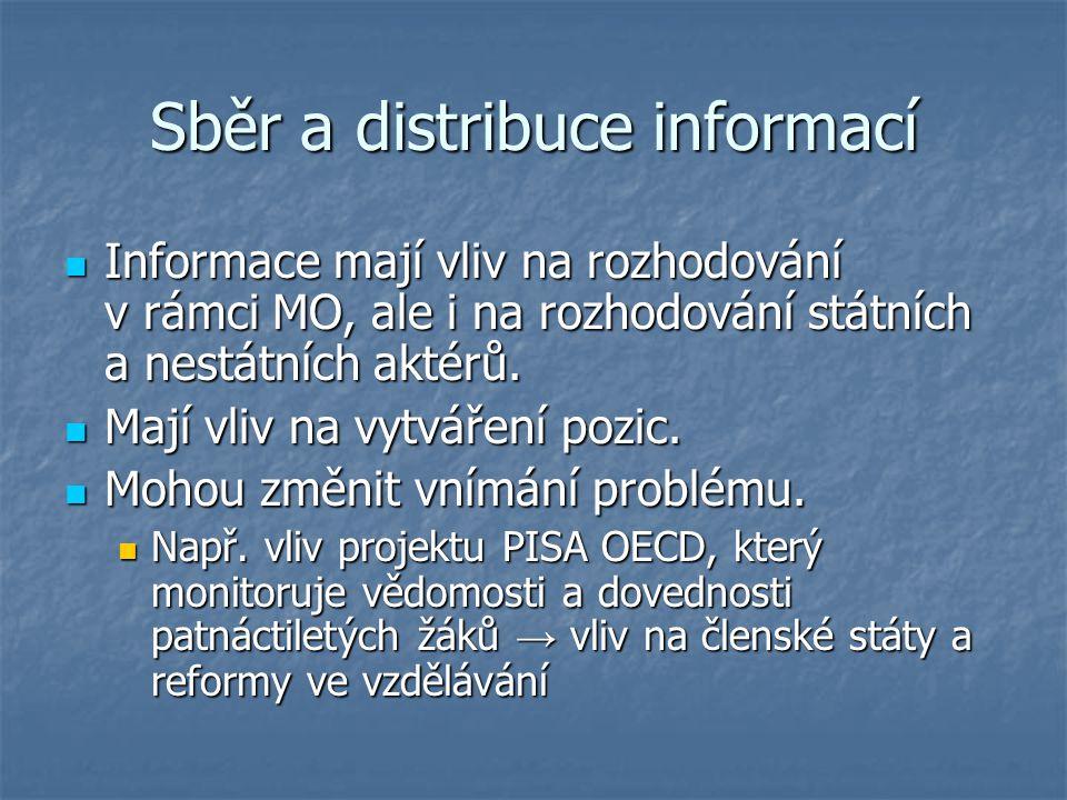 Sběr a distribuce informací Informace mají vliv na rozhodování v rámci MO, ale i na rozhodování státních a nestátních aktérů. Informace mají vliv na r