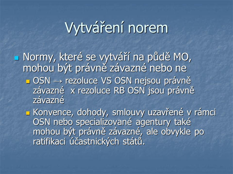 Vytváření norem Normy, které se vytváří na půdě MO, mohou být právně závazné nebo ne Normy, které se vytváří na půdě MO, mohou být právně závazné nebo