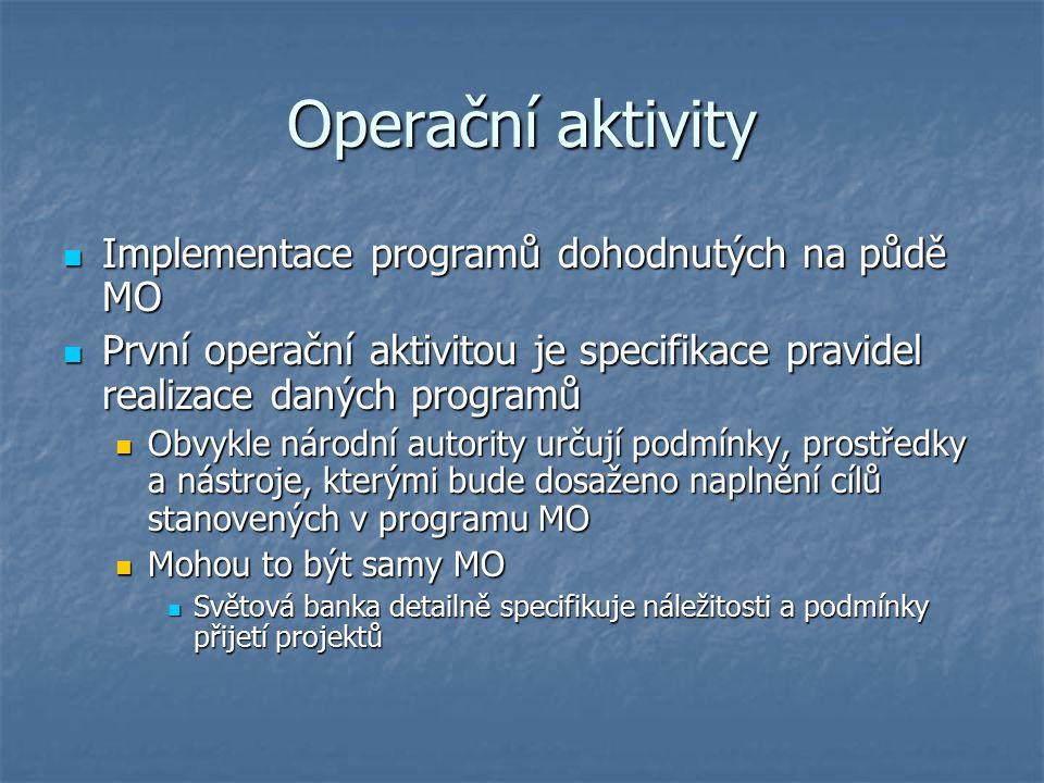 Operační aktivity Implementace programů dohodnutých na půdě MO Implementace programů dohodnutých na půdě MO První operační aktivitou je specifikace pr