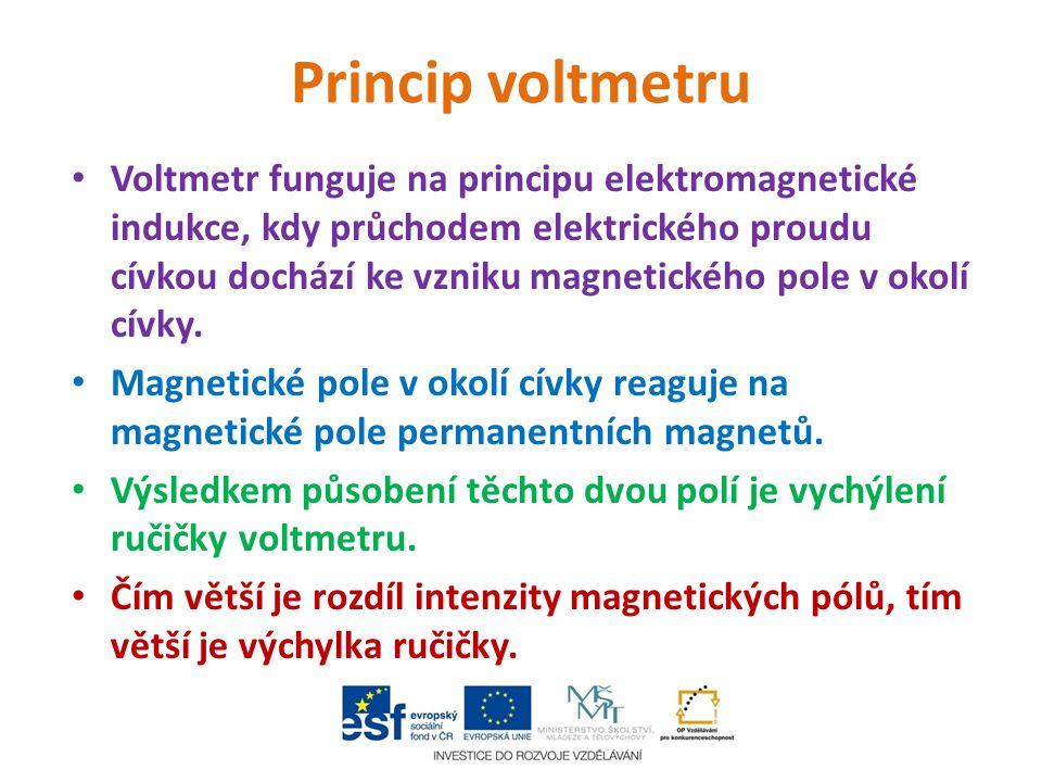 Princip voltmetru Voltmetr funguje na principu elektromagnetické indukce, kdy průchodem elektrického proudu cívkou dochází ke vzniku magnetického pole
