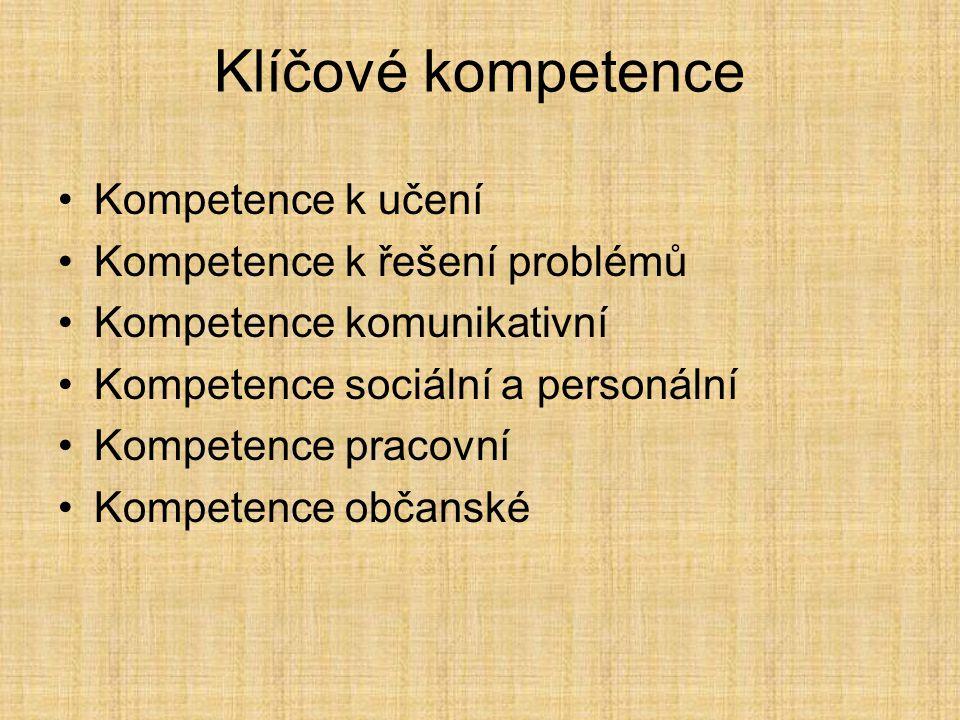 Kompetence k učení Kompetence k řešení problémů Kompetence komunikativní Kompetence sociální a personální Kompetence pracovní Kompetence občanské Klíčové kompetence