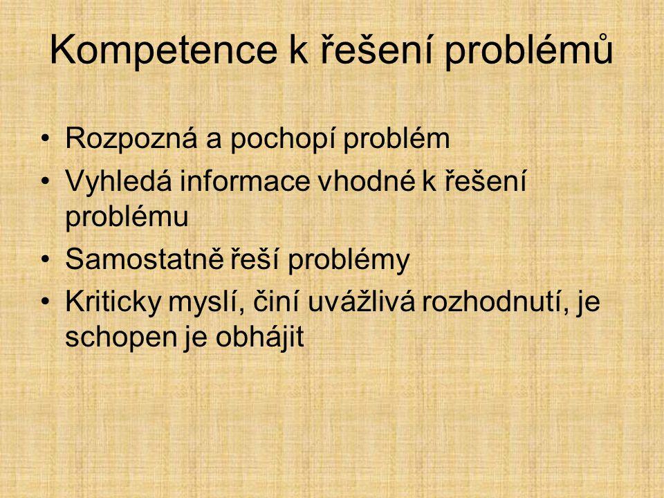 Rozpozná a pochopí problém Vyhledá informace vhodné k řešení problému Samostatně řeší problémy Kriticky myslí, činí uvážlivá rozhodnutí, je schopen je obhájit Kompetence k řešení problémů