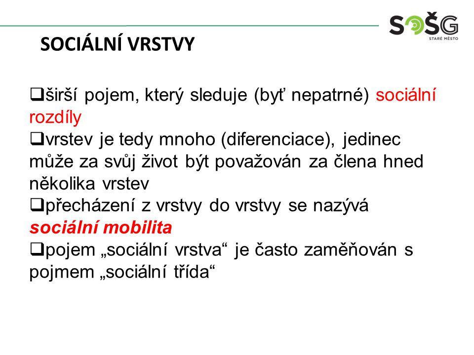 """ širší pojem, který sleduje (byť nepatrné) sociální rozdíly  vrstev je tedy mnoho (diferenciace), jedinec může za svůj život být považován za člena hned několika vrstev  přecházení z vrstvy do vrstvy se nazývá sociální mobilita  pojem """"sociální vrstva je často zaměňován s pojmem """"sociální třída SOCIÁLNÍ VRSTVY"""