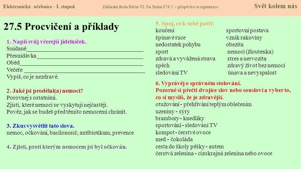 27.4 Žijeme zdravě Elektronická učebnice - I.